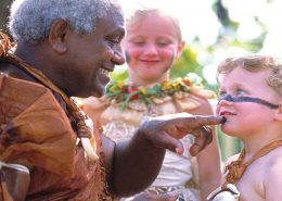 Fijian Family Holiday - Warrior with Boy - Shangri La Fijian Resort