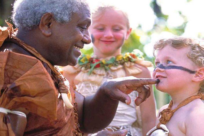 Fijian Family Holiday - Warrior with Boy - Shangri La Fijian Resort
