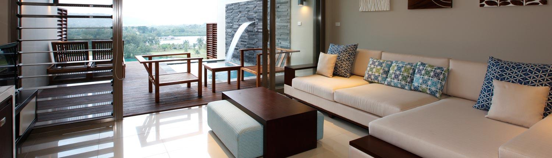The Terraces Boutique Apartments Vanuatu - Living Area & Pool