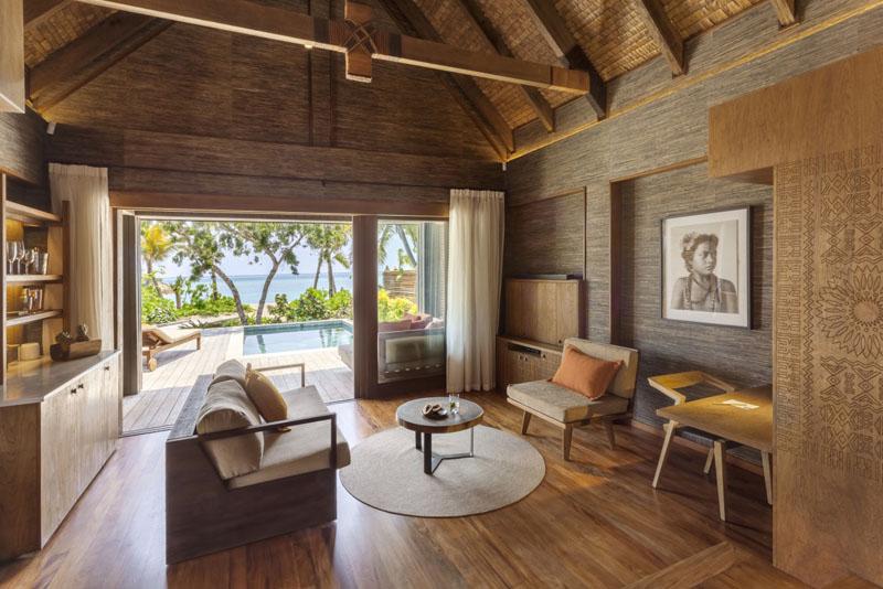 Living Area in Beachfront Pool Villa - Six Senses Fiji