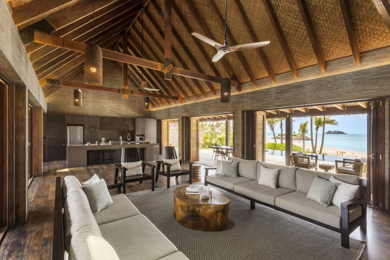 Living and Kitchen - Beachfront Pool Residence - Six Senses Fiji