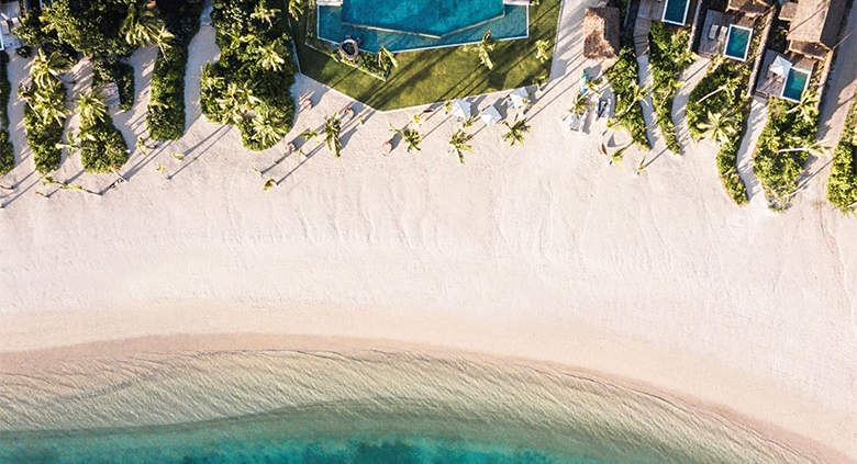 Six Senses Fiji - Beach Front Plunge Pool Villas and Tovolea - Aerial View