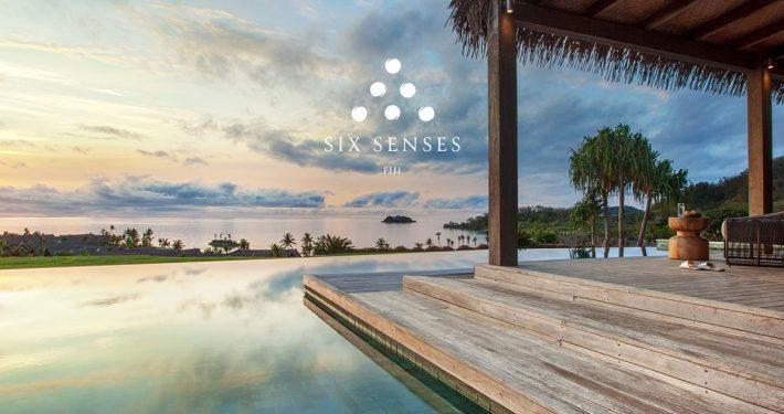 Sunset over Residence Pool - Six Senses Fiji