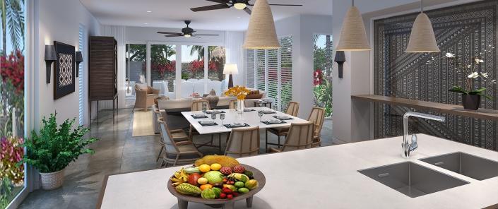 Auberge Beach Villas - 2 Bedroom Villa Kitchen and Dining