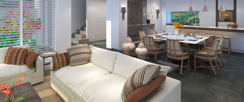 Auberge Beach Villas - 2 Bedroom Villa - Lounge and Dining - Nanuku Resort Fiji