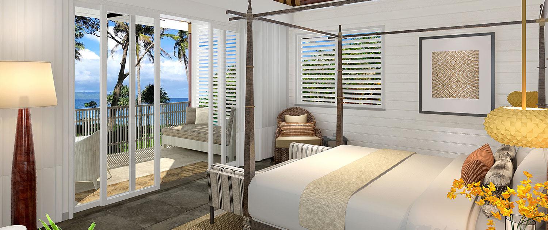 Auberge Beach Villas Fiji - Bedroom with Ocean Views - Nanuku Resort Fiji