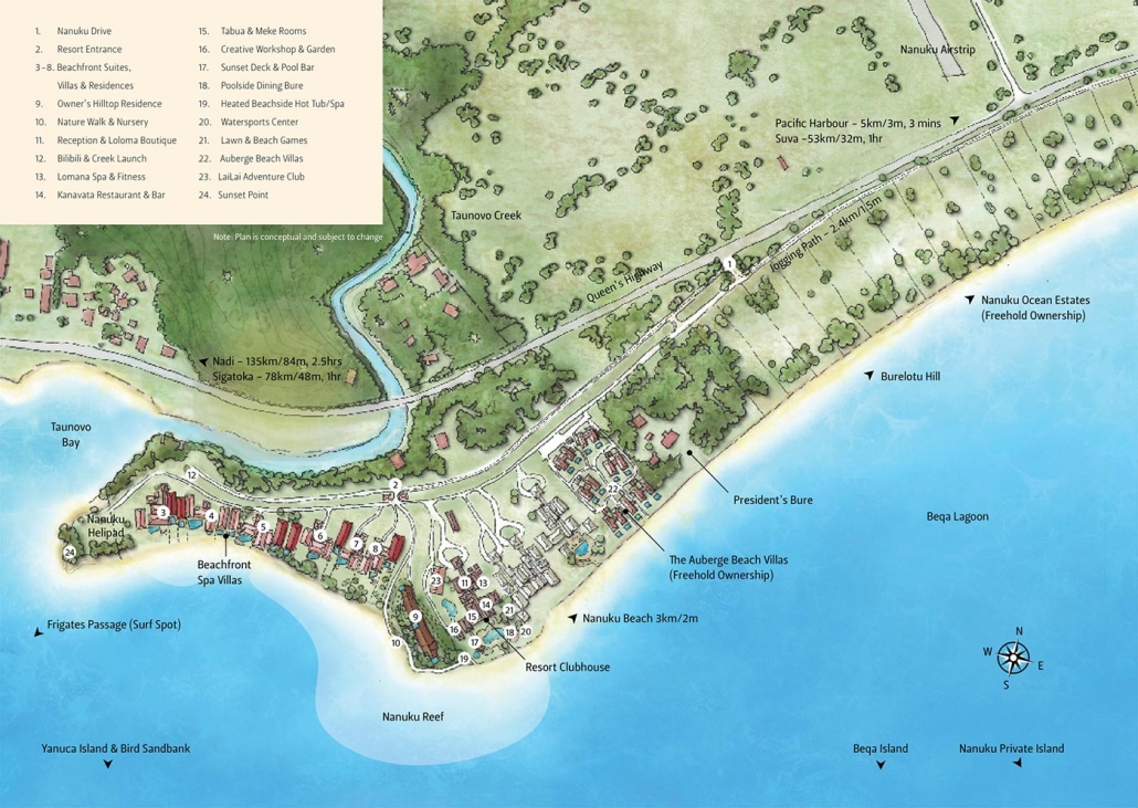 Auberge Beach Villas Map