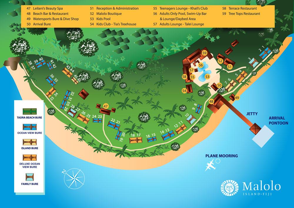 Malolo Island Resort Map