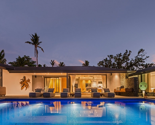 The BeacHouse Vomo - Residence Expanse View at Night - Fiji Luxury Holiday Homes