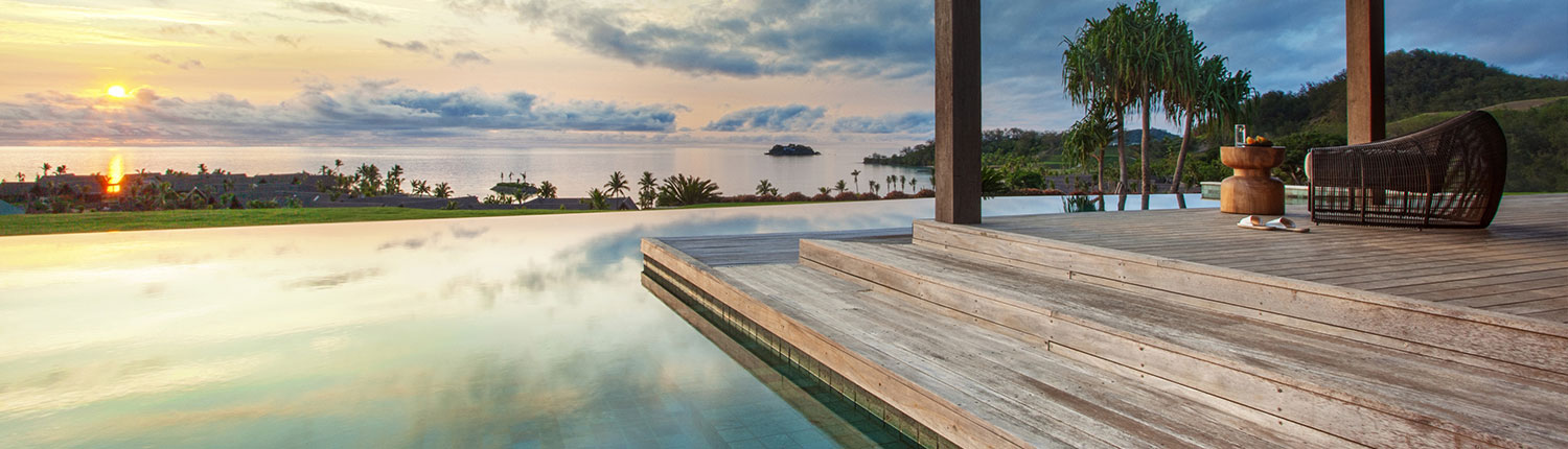 Six Senses Fiji - 4 Bedroom Luxury Holiday Home - Pool Deck View at sunset