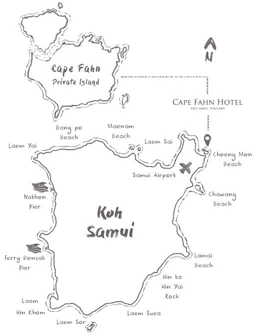 Cape Fahn Hotel Map - Koh Samui, Thailand