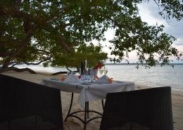 Barrier Beach Resort Beach - Santo - Vanuatu Resorts - Dining Set up at Sunset