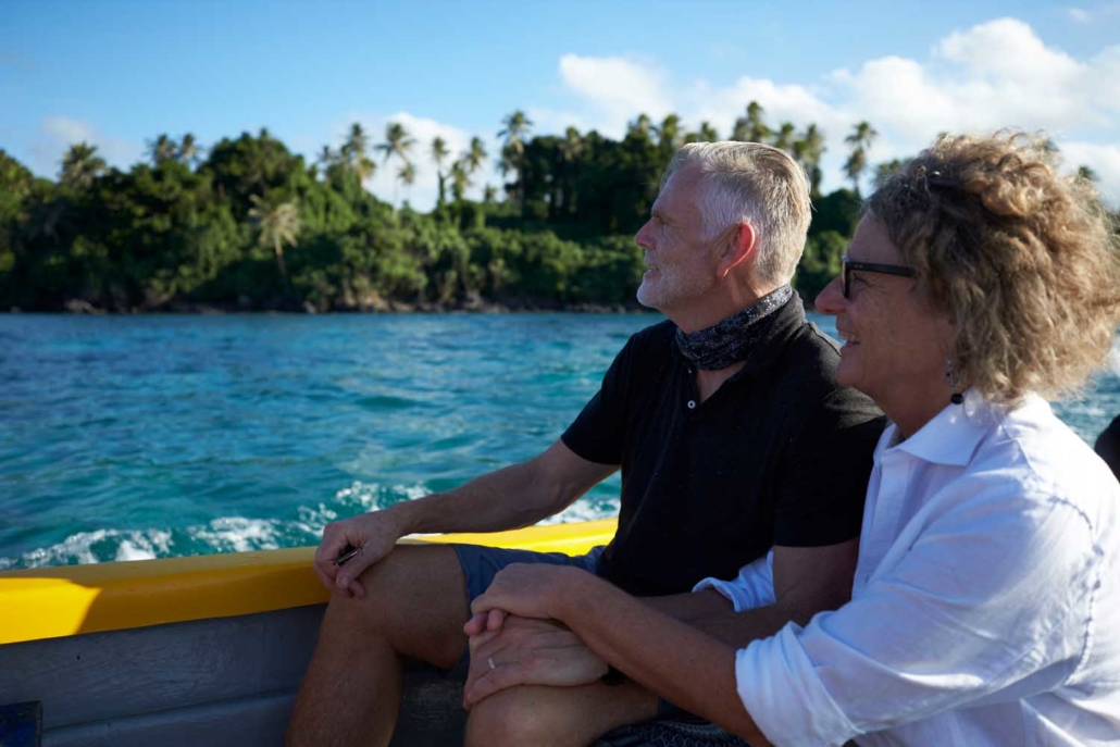 Older couple enjoying Vanuatu boat ride